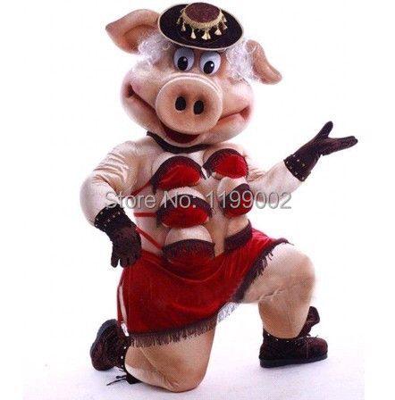 Die hohe qualität der Puppen Striptease Streifen Schwein Swinish Maskottchen Kostüm, Party-Outfits Abendkleid Freie Verschiffen