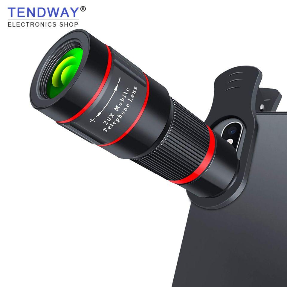 Tendway 20X Zoom téléobjectif 4 K HD monoculaire télescope Camping randonnée téléphone caméra lentille pour iPhone Xs X 8 7 Plus Samsung