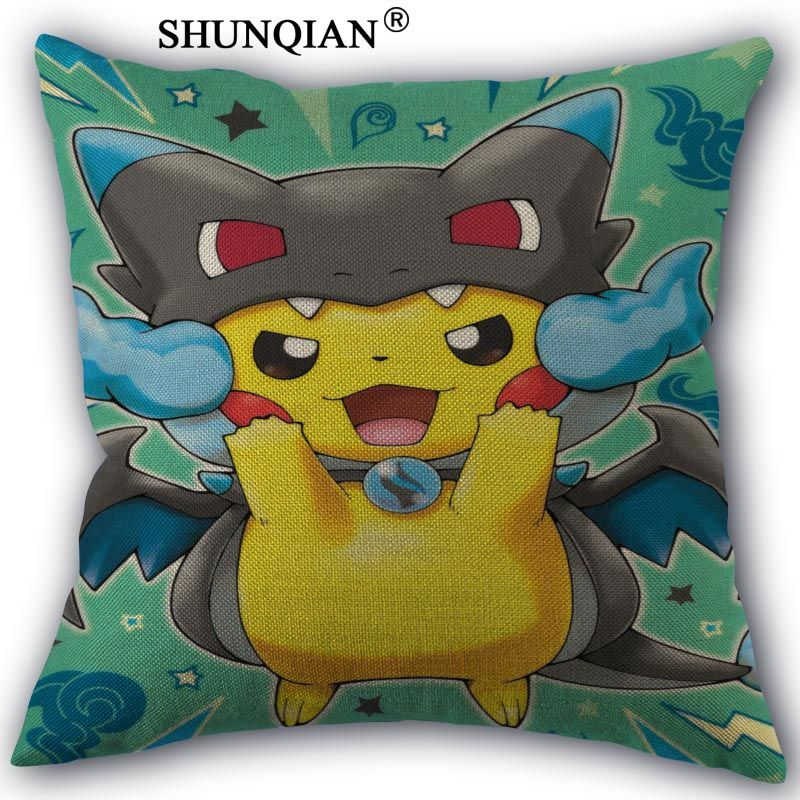 Custom Pillowcase pikachu High Quality Home textile Cotton Linen One Side Pillow Cases Hot Sale Pillow Covers 45x45cm
