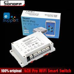 Sonoff 4CH Pro Smart Home 433MHz RF Wifi Light Switch 4 Gang 3 Working Modes Inching Interlock Wifi Switch Work With Alexa