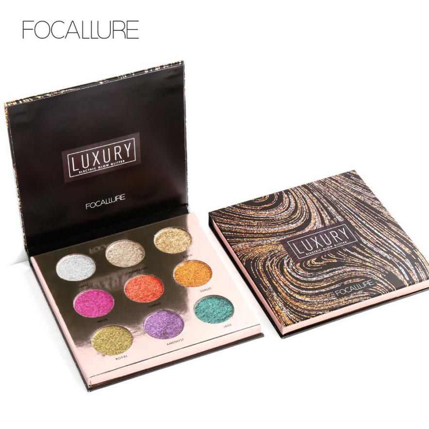 Focallure 9 Colors Pearlized Color Eyeshadow Powder Eye Shadow Palette Set  glitter eyeshadow Makeup Set for Beauty Anne