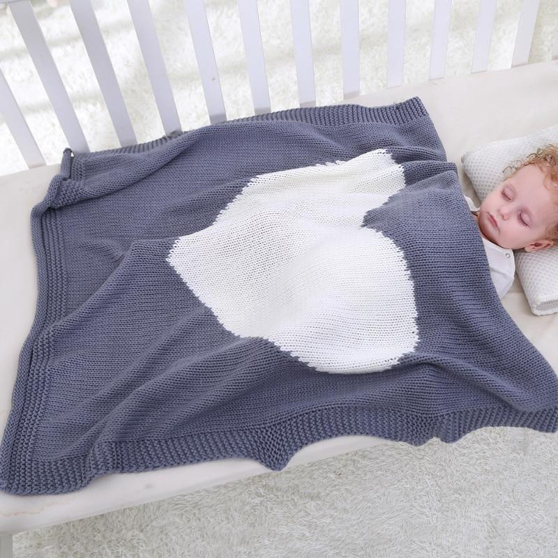 Baby Blanket Toddler Kids Cute Heart Shape Yarn Knitting Blanket Soft Bedding Quilt Newborn Swaddling Wrap 78 X 100cm