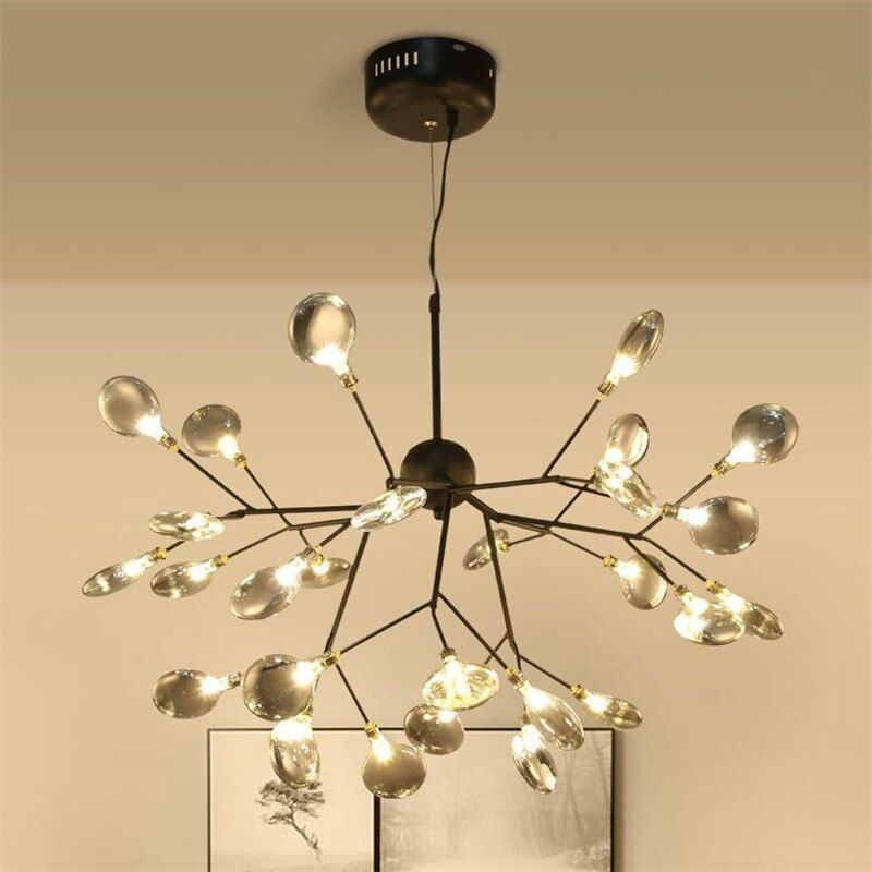 Branch Firefly Chandeliers Nordic G4 Led Lustre Chandelier For Living Room Butterfly Hanging Pendent Lamp Glass Lamp Fixtures