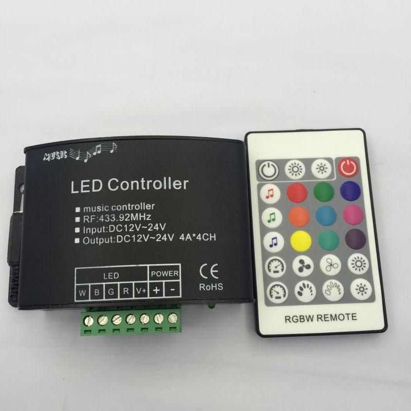 RGBW музыка контроллер с 24 ключ RF Remote мечта цвета LED RGBW РФ светодиод музыка remotecontroller DC12-24V для RGBW полосы