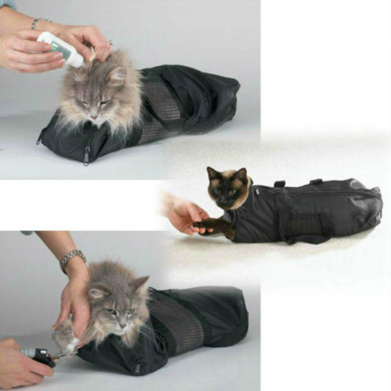 Сверхмощный сетки Уход за котом купальный сдержанность сумка без царапин для коготь ногтей Подрезка инъекционных осматривает-2 размера и в...
