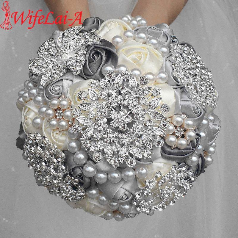 WifeLai-A 1 pièce élégant personnalisé ivoire Bouquets de mariage de mariée superbes perles perlées cristal broche point Bouquets de mariage W230