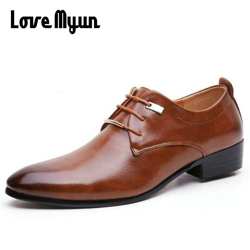 Hot sell mens leather shoes men's dress shoes British Style lace up <font><b>Pointed</b></font> toe low top flats 2 colors big size 37-46 AA-04