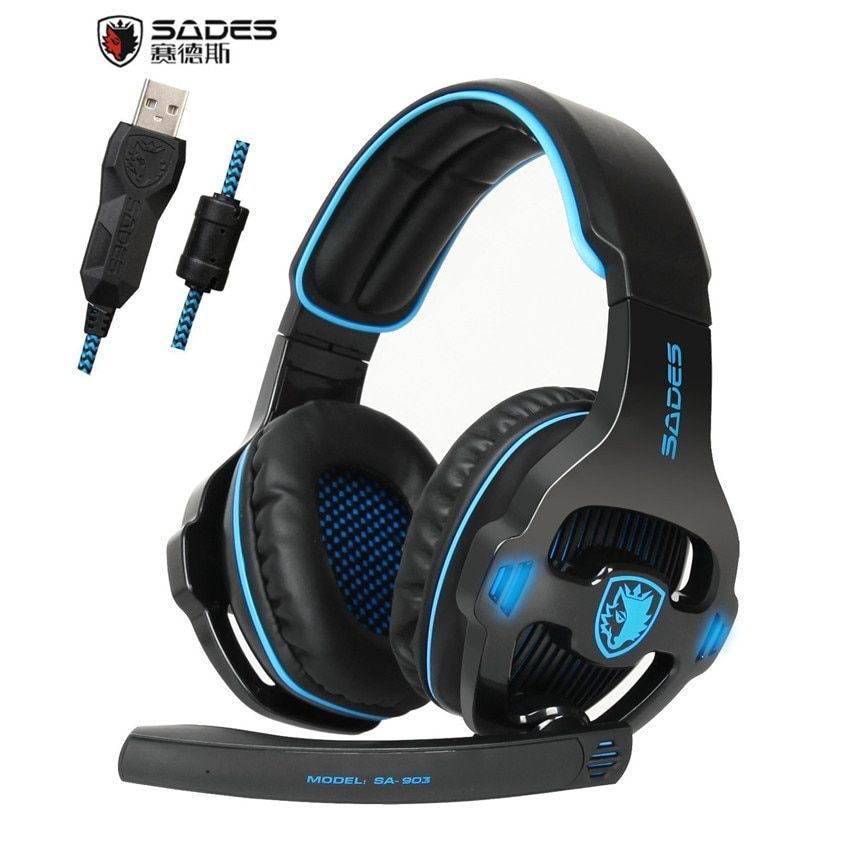 Best PC Gaming Headphones for Computer Sades SA-903 USB 7.1 Surround Sound Gaming Headset Bass Casques With Microphone Mic LED