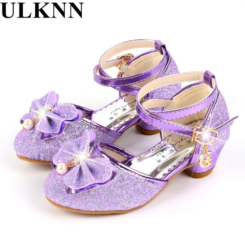 ULKNN Children's shoes spring and summer princess Latin dance shoes girl soft-soled dance shoes  small high-heel purple silver