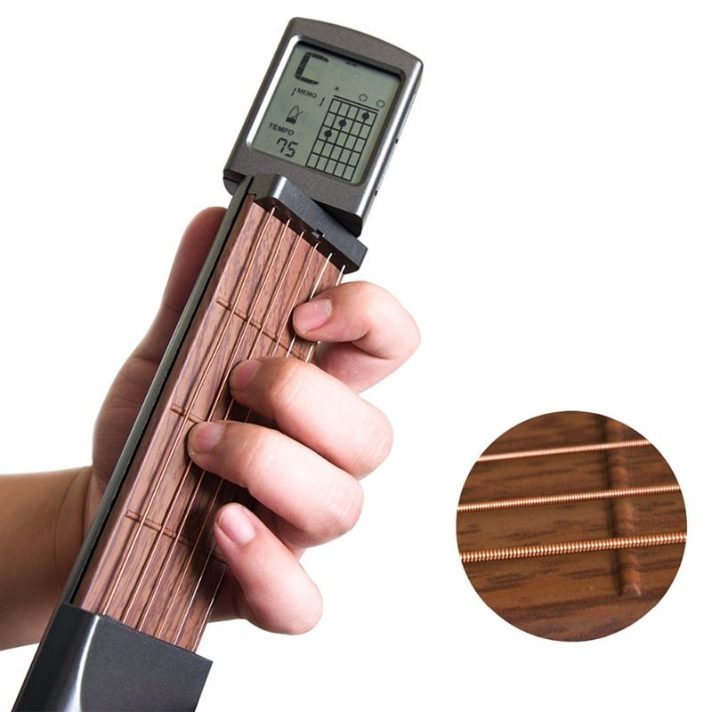 SOLO Six-port Portable Pocket Guitar Chord Finger Trainer Rotating Chord Chart Screen