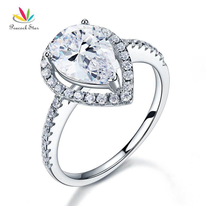 Peacock Star 2 Ct Pear Cut Ring Sterling 925 Silver Wedding Promise Anniversary Engagement Jewelry CFR8221