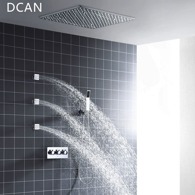 DCAN Wholesale SPA 500x500mm 20 Inch 3 Way Hot Cold Mixer Rain Shower Set LED Lamp Illuminated Shower Head with 3 Spray Jets