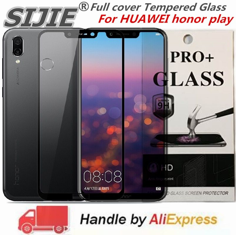 Full cover Tempered Glass For HUAWEI honor play screen protective case 9H toughened black frame all edges on Suitable fit