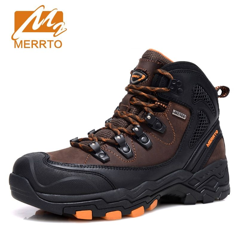 Merrto Outdoor Waterproof Hiking Boots For Men Breathable Shoes Hiking Genuinle Leather Trekking Boots Outdoor Sports Shoes Men