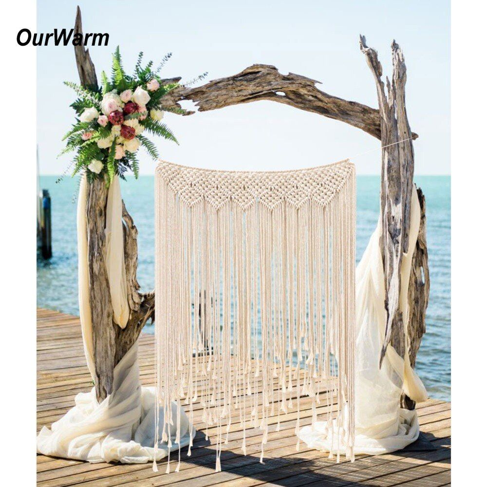 OurWarm Macrame Wedding Backdrop Curtain Wall Hanging Boho Wedding Hanger Cotton Handmade Wall Art Home Wall Decor 39