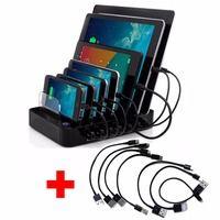 AC100-240V USB Зарядное устройство концентратора DC5V 7-порт быстрой зарядки станции для Android мобильный телефон Apple и планшетных ПК с 7 шт. Кабели USB