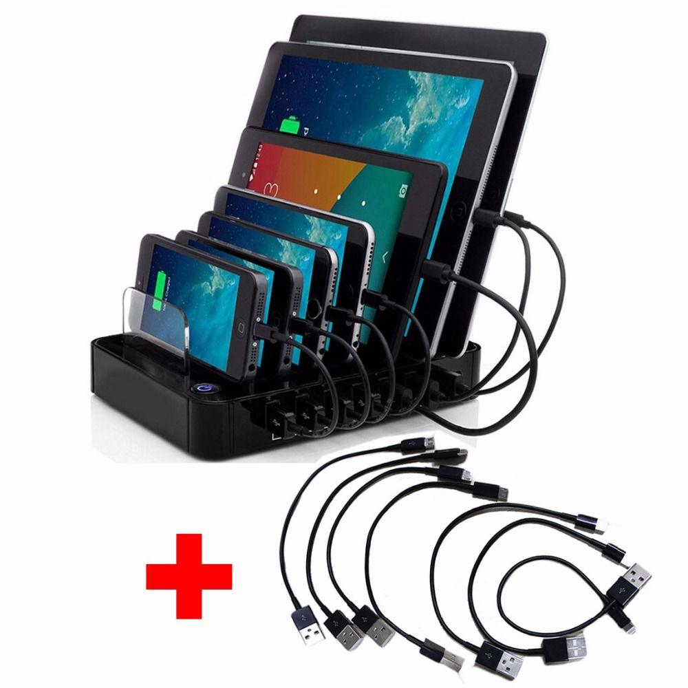 AC100-240V USB Chargeur Concentrateur DC5V 7 ports Station De Recharge Rapide pour Android Apple Téléphone Portable et Tablette PC avec 7 pièces Câbles USB