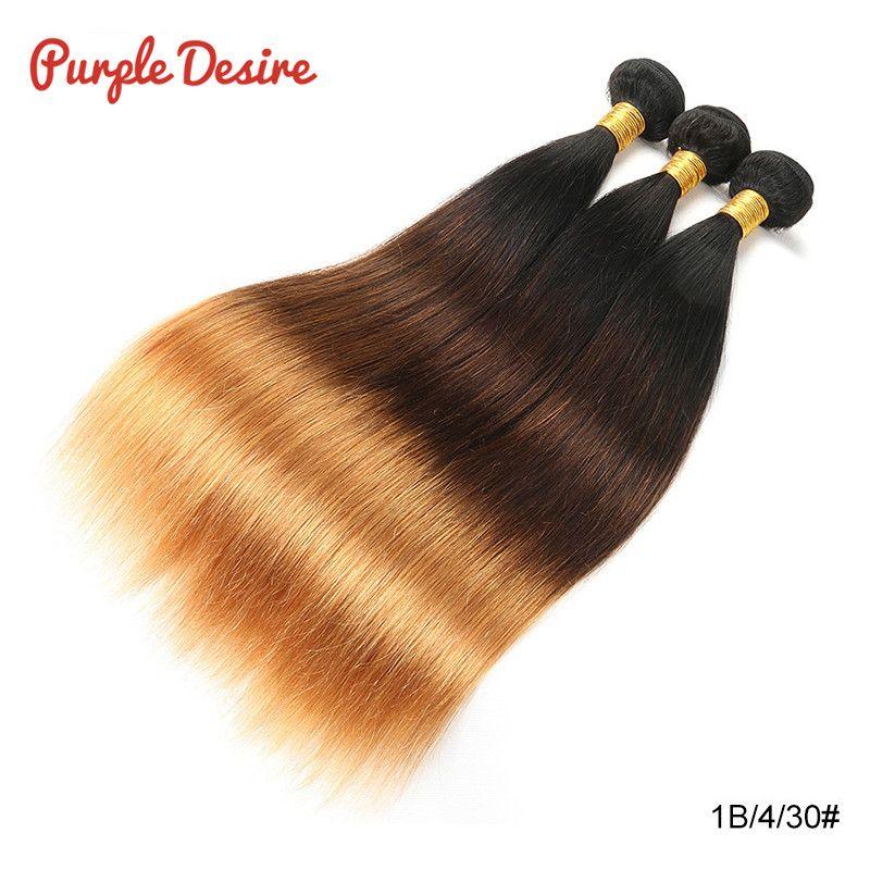Cheveux raides brésiliens T1B/4/30 Ombre cheveux humains armure faisceaux 1/3 pièces 8-26 pouces miel blond 3 tons réel Remy Extension de cheveux