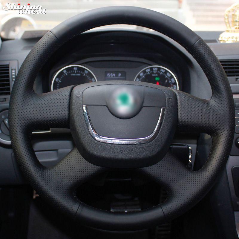 Shining wheat Black Steering Wheel Cover for Skoda Octavia Superb 2012 Fabia Skoda Octavia a 5 a5 2012 2013 Yeti 2009-2013