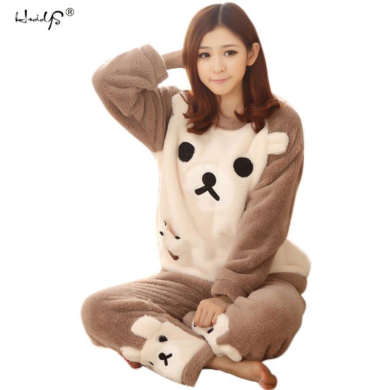 Women Pajama Sets 2017 Autumn winter Flannel Cartoon Warm Pyjamas Women Homewear Animal Sleepwear Cat female pajama