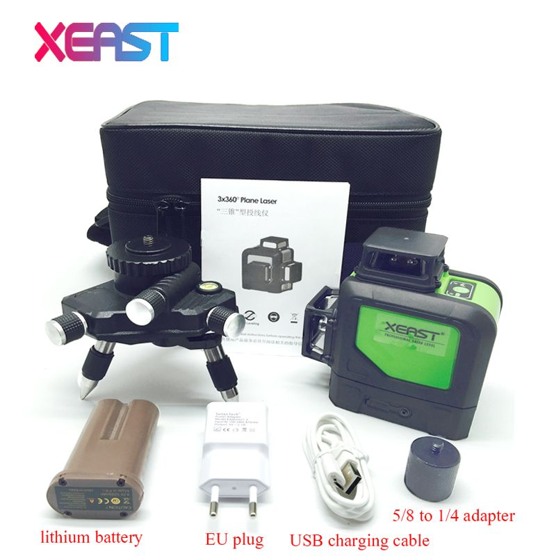 XEARST 3D XE-903 12Lines Green Laser Levels Self-Leveling 360 Horizontal And Vertical Cross Super Powerful Green Laser Beam Line