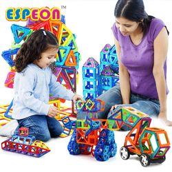 107 Pcs Ukuran Besar Magnetik Desainer Blok Bangunan Model & Mainan Bangunan Bata Mencerahkan Batu Bata Magnetik Mainan untuk Anak