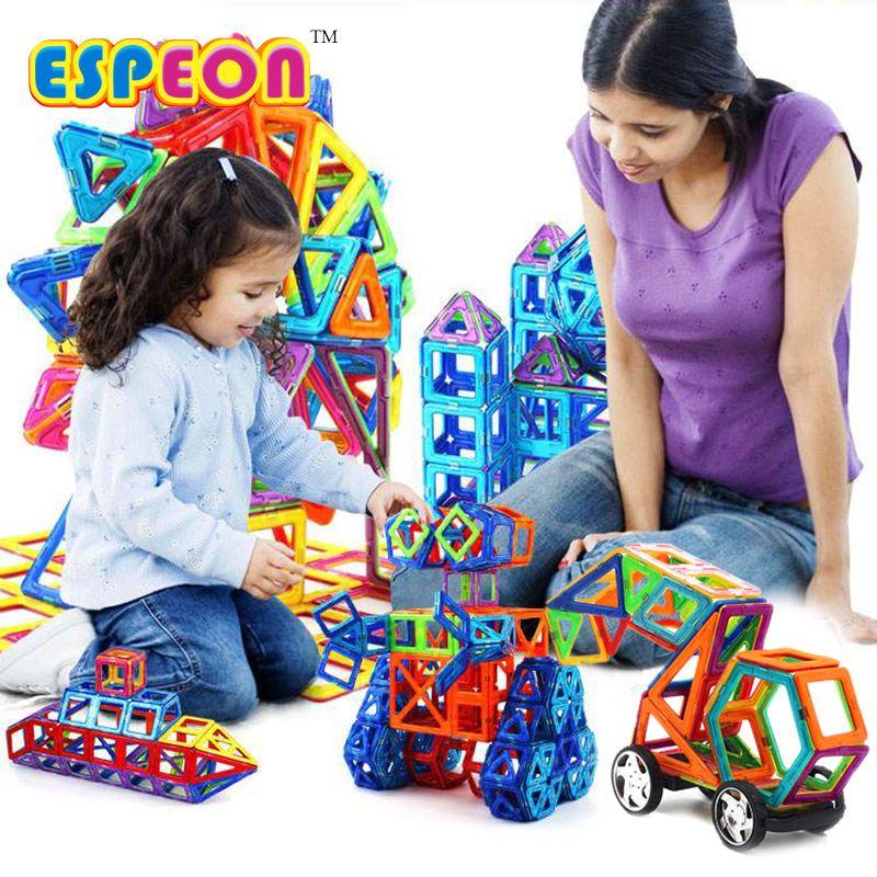 107 pièces grande taille concepteur magnétique blocs de construction modèle & jouets de construction brique éclairer briques jouets magnétiques pour enfants