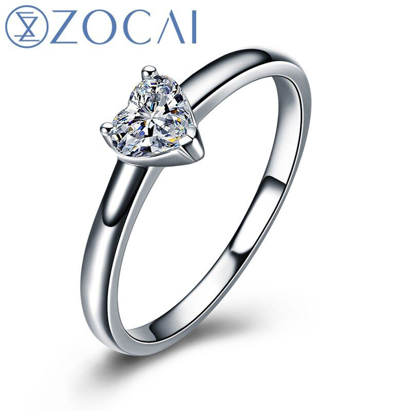 ZOCAI Heart Shape 18K White Gold (Au750) Real 0.18 CT F-G/ SI Heart Cut Diamond Engagement Ring W03672