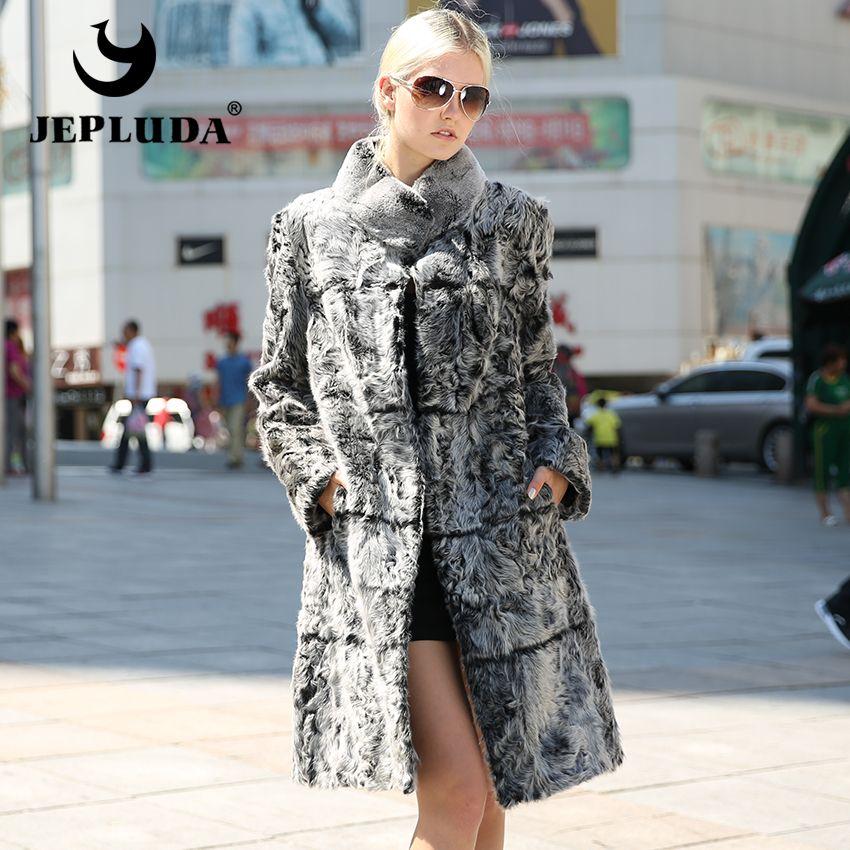 JEPLUDA Elegant Lady Natural Real Lamb Fur Coat Rex Rabbit Mandarin Collar Real Fur Coat Classic Style Women Jacket Fur Coats