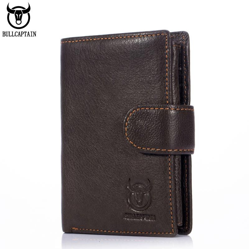 BULLCAPTAIN 2018 MEN Coffee Cow Leather Wallet CASUAL Short Trifold Hasp Zipper Wallet Money Purse Bag Card Holder Coin Pocket