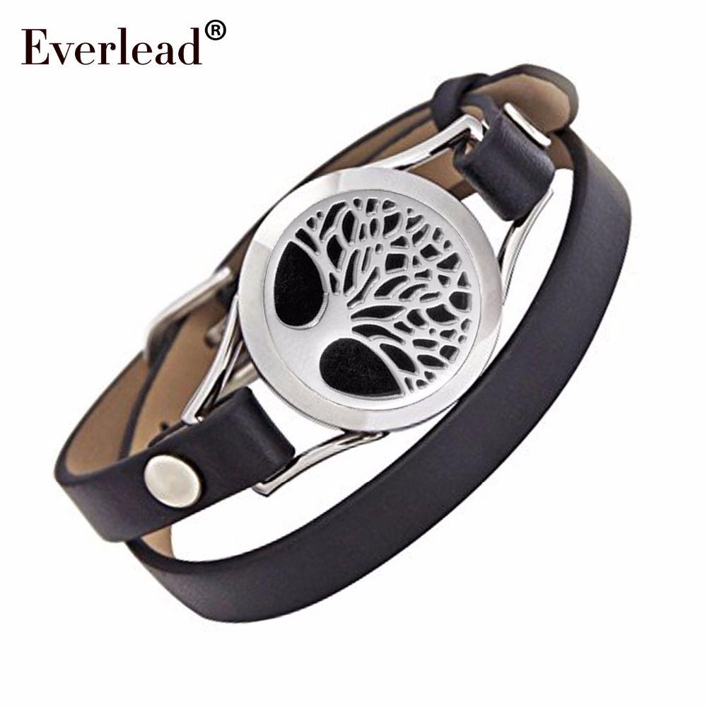 Arbre de vie en cuir bracelet médaillon en acier inoxydable huile Essentielle Aromathérapie torsion médaillon bracelet comprennent boîte à bijoux et tampons