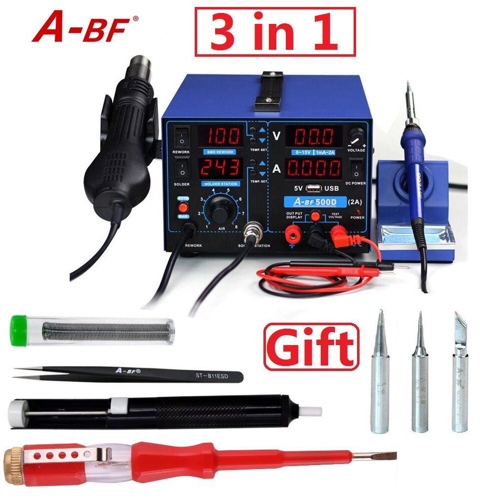 A-BF 500D À Souder Station de Reprise Combiner fer à souder pistolet à air chaud alimentation station 3 en 1 pour le BRICOLAGE ou réparation de téléphone intelligent