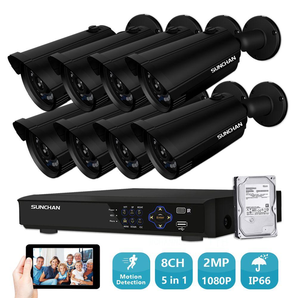 8CH Hybrid AHD 2.0MP CCTV System 8pcs 1920*1080P CCTV Camera 2.0megapixel Camera Surveillance Kit 8ch DVR 1080P HDMI Output