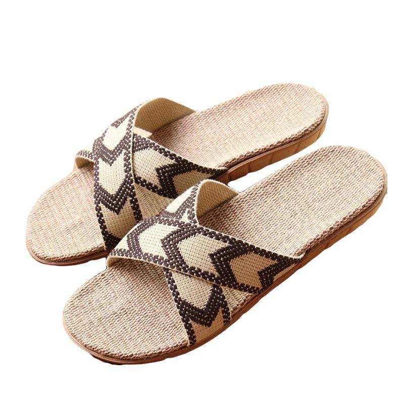 2017 chaud nouveau été hommes lin pantoufles marque qualité ruban plat antidérapant intérieur lin diapositives maison sandales homme ethnique plage chaussure