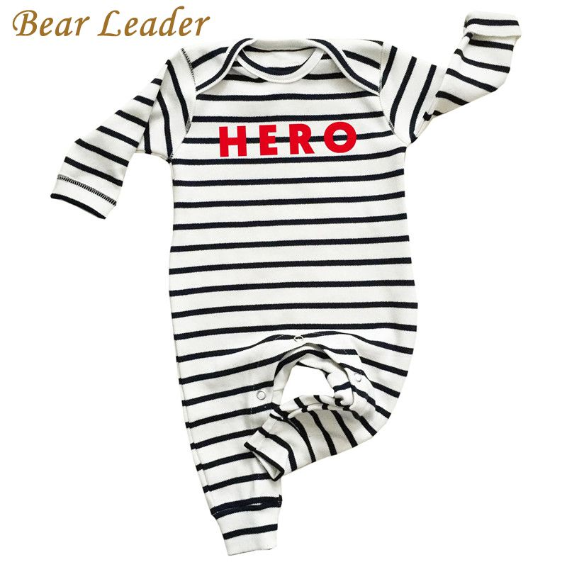 Bear Leader Romper For Baby Newborn Striped Baby Boy Clothes Long-sleeve HERO Letter Print Baby Jumpsuit Infant Suit Toddler