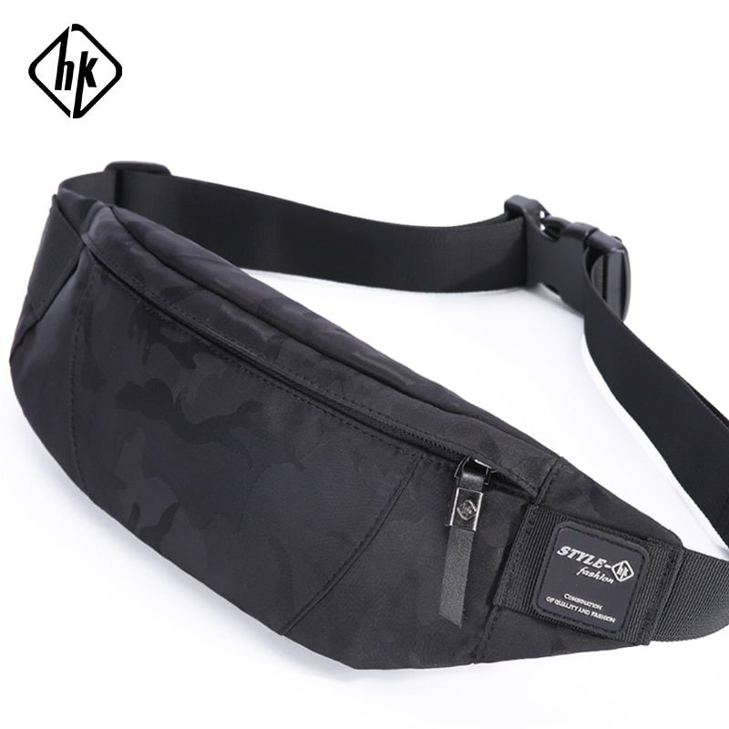 Hk Men Male Casual Fanny Bag Waist Bag Money Phone Belt Bag Pouch Camouflage Black Gray Bum Hip Bag Shoulder belt pack