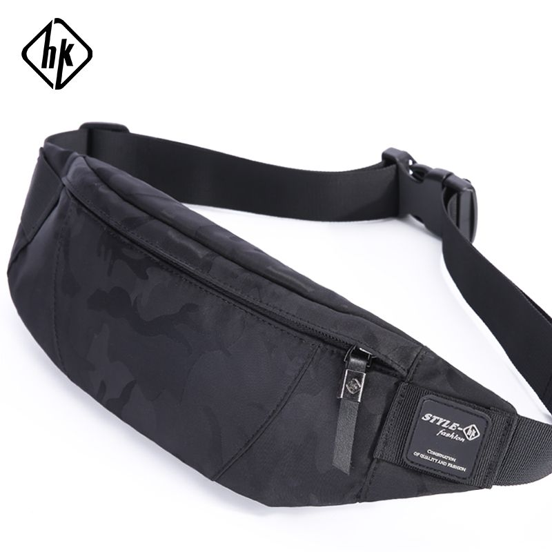 Hk hommes homme décontracté Fanny sac taille sac argent téléphone ceinture sac pochette Camouflage noir gris Bum Hip sac épaule ceinture pack