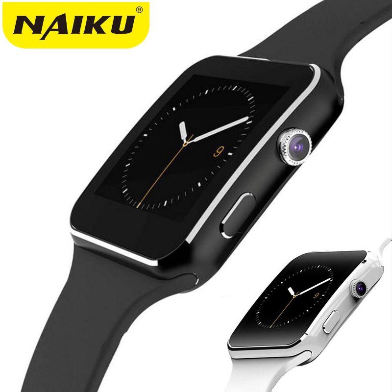 NAIKU Bluetooth montre intelligente X6 Sport passomètre Smartwatch avec caméra prise en charge carte SIM Whatsapp Facebook pour téléphone Android