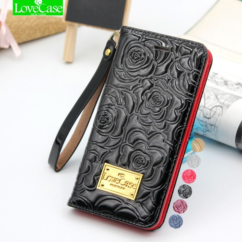 Latest 6s plus camellia wallet flip Patent Leather Case for iPhone 6 6S Plus 6splus Genuine Leather phone Bag Pouch Phone Cover