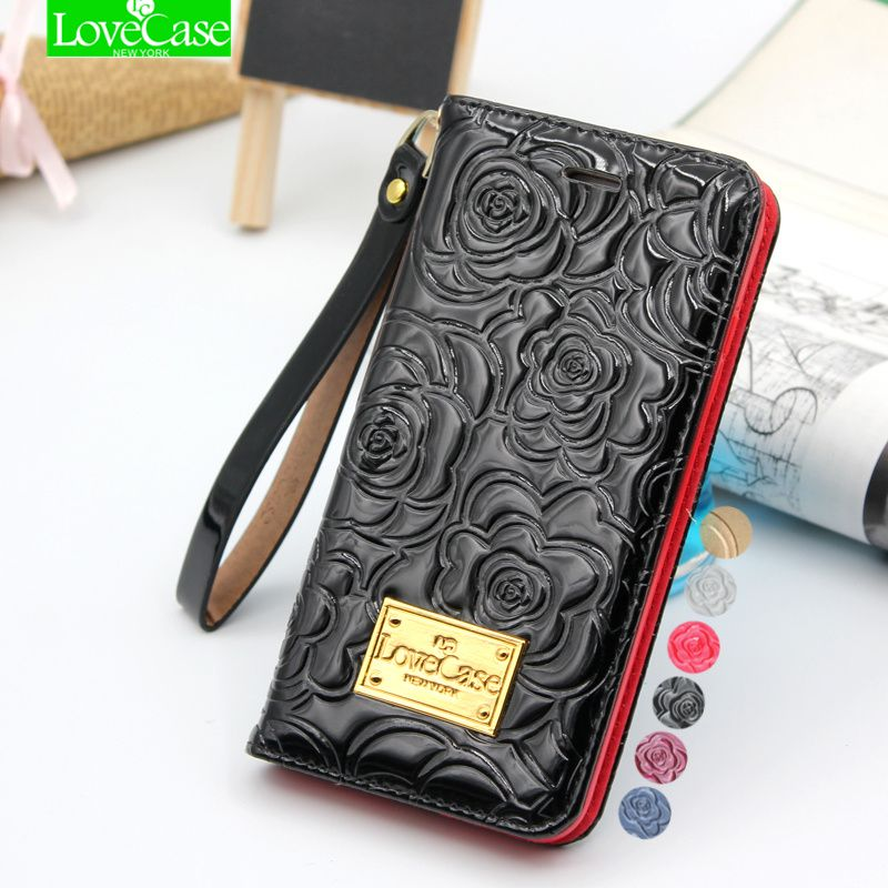 Latest 6s plus camellia wallet <font><b>flip</b></font> Patent Leather Case for iPhone 6 6S Plus 6splus Genuine Leather phone Bag Pouch Phone Cover