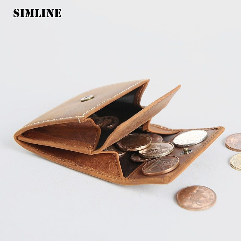 SIMLINE Brand Vintage Casual 100% Genuine Leather Cowhide Men Women Small Mini Coin Purse Wallet Wallets Pocket Case Storage Bag