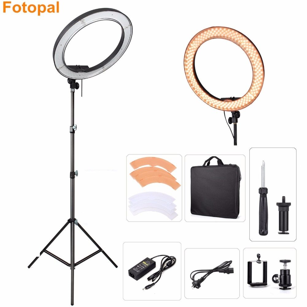 Fotopal Dimmable 240PCS LED Studio Camera Ring Light Photo Phone Video Annular Lamp 480 mm With Tripod Ring Lighting For Youtube