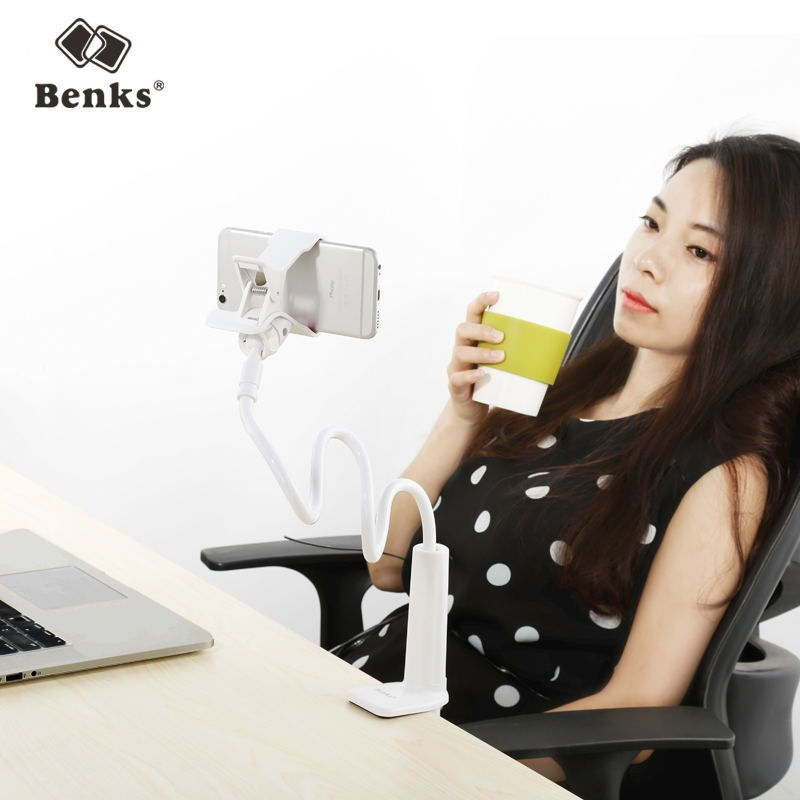 Benks Universal Mobile Phone Holder Long Arm Lazy Mount Bracket Stand for Desk Bed 360 Degree Flexible Rotate mont blanche White