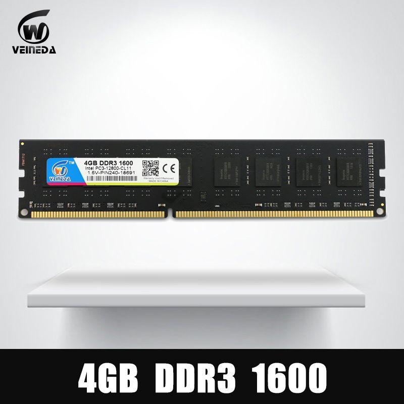 VEINEDA Dimm Ram DDR3 4 gb 1600Mhz Compatible 1333 1066 ddr 3 4gb PC3-12800 Memoria 240pin for All AMD Intel Desktop