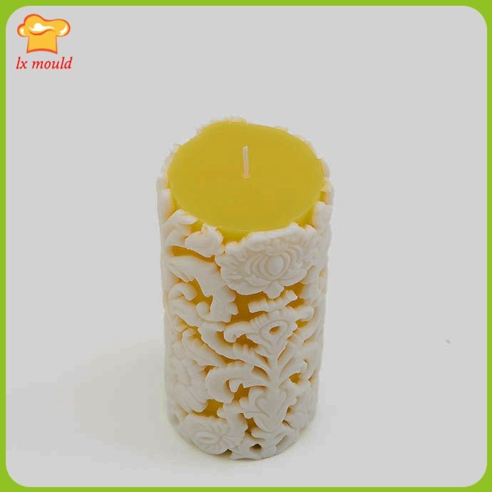 2017 new retro embossed flowers silicone mold pattern candle mold European cylindrical candle mould
