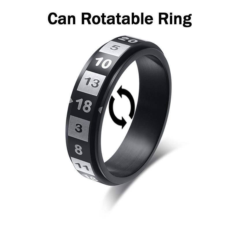 New Arrival Unisex Can Rotatable Random Number Decompression Lucky Rings Stainless Steel Jewelry Black Multi Color Us Size 6-11