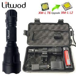Litwod Z10C8 Daya Tinggi Taktis LED Senter XM-L2 T6 U3 Pertahanan Diri Senter Obor Lanterna untuk Berburu Sepeda Lampu Lampu