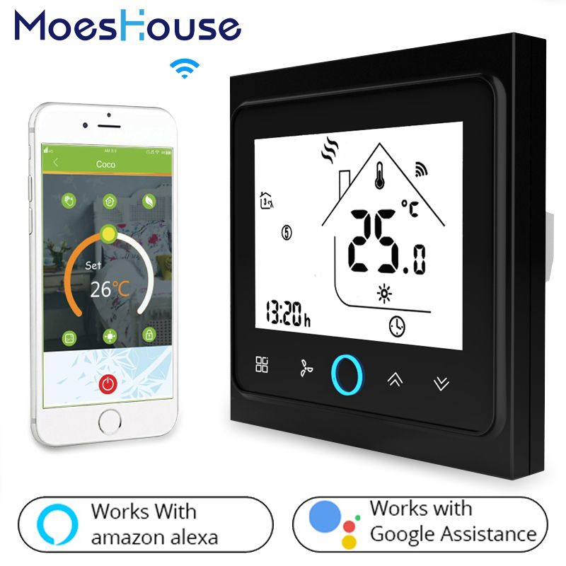 WiFi Central Air Conditioner Thermostat Temperature Controller 2 Pipe 4 Pipe 3 Speed Fan Coil Unit Work with Alexa Google Home