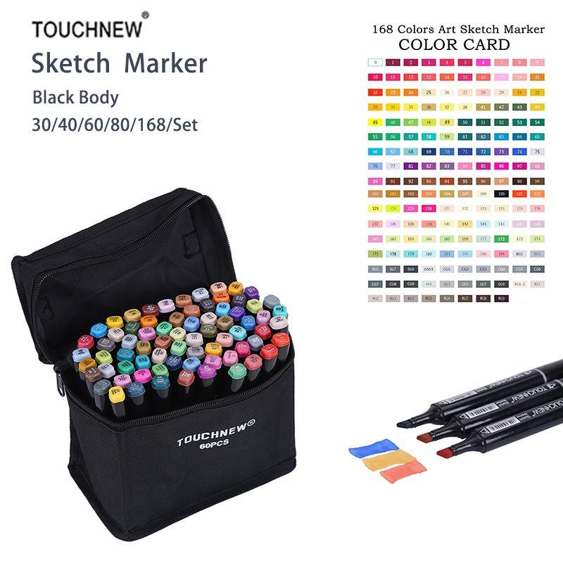 Touchnew 168 Colors Set Artist Dual Head Sketch Markers Set For Eco-friendly School Supplies Marker Pen Design Marker