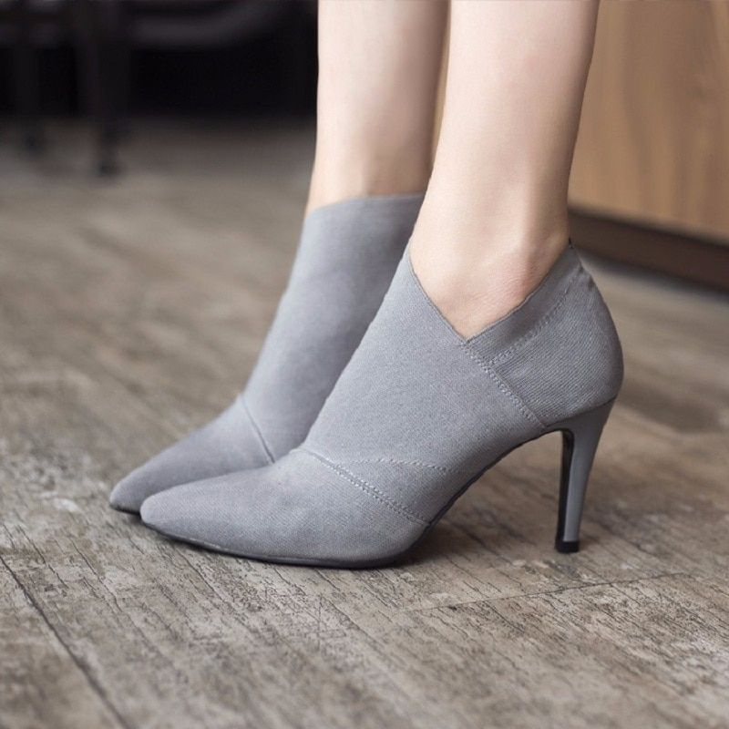 Hot Sale <font><b>Pointed</b></font> Toe High Heels Women Boots Basic Shoes Autumn And Winter Casual Fitted Female Single Fashion Outwear Shoe DT609